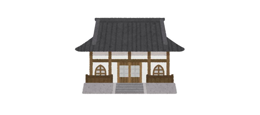 遺品整理の際の仏壇の処分方法や費用、仏壇の供養について菩提寺に依頼するお寺イラスト