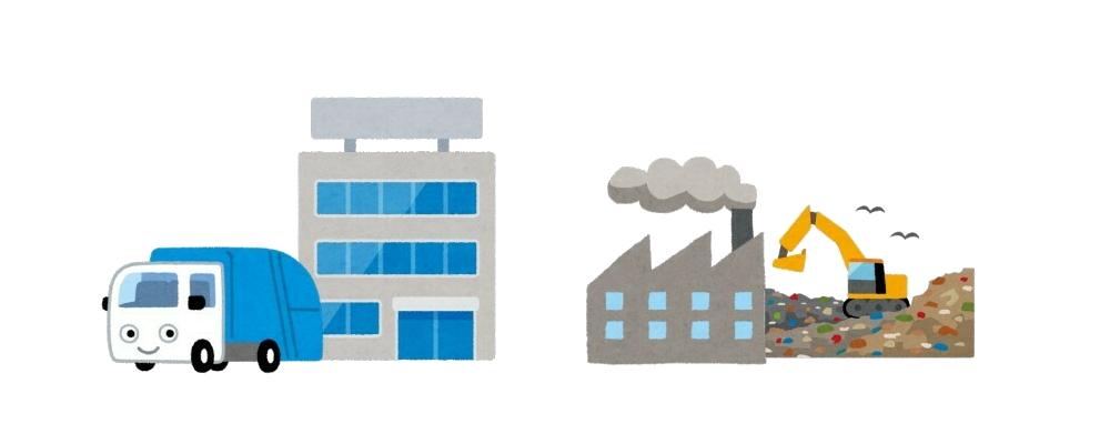 一般廃棄物業者と中間処理場、最終処分場イラスト